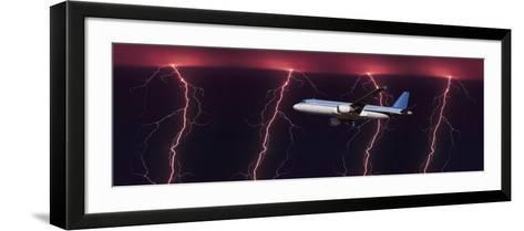 Airplane in Flight Through a Lighting and Rain Storm--Framed Art Print