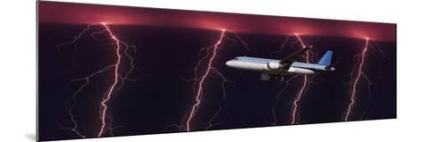 Airplane in Flight Through a Lighting and Rain Storm--Mounted Photographic Print