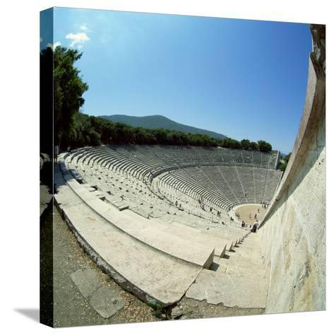 Theatre at the Archaeological Site of Epidavros, UNESCO World Heritage Site, Greece, Europe-Tony Gervis-Stretched Canvas Print