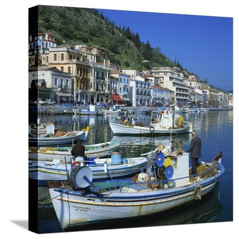 Fishing Boats at Port Town of Neapoli, Peloponnese, Greece, Europe-Tony Gervis-Stretched Canvas Print