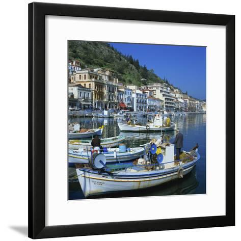 Fishing Boats at Port Town of Neapoli, Peloponnese, Greece, Europe-Tony Gervis-Framed Art Print