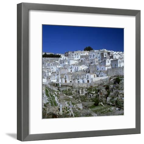 Houses of the Village of Monte Sant Angelo in Puglia, Italy, Europe-Tony Gervis-Framed Art Print