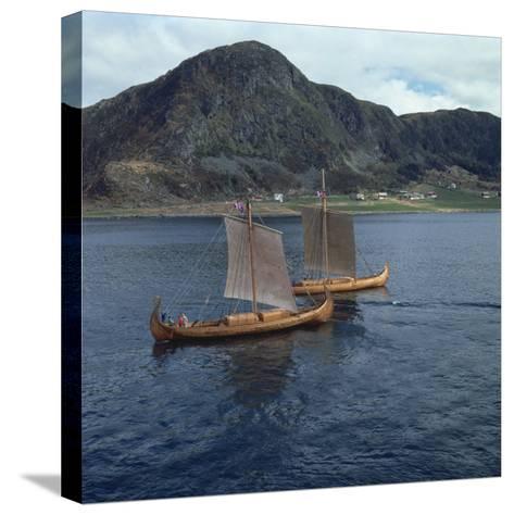 Replica Viking Ships, Oseberg and Gaia, Near Ulstenvik, Norway, Scandinavia, Europe-David Lomax-Stretched Canvas Print