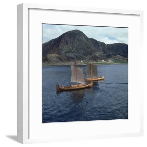 Replica Viking Ships, Oseberg and Gaia, Near Ulstenvik, Norway, Scandinavia, Europe-David Lomax-Framed Art Print