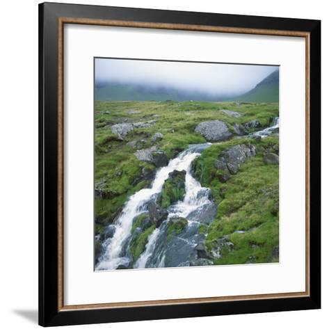 Stream Rushing over Rocks in a Wet Misty Environment, Estoroy Island, Faroe Islands, Denmark-David Lomax-Framed Art Print