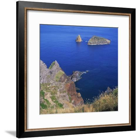 Rock Formations on the Volcanic Coastline on the Island of Graciosa in the Azores, Portugal-David Lomax-Framed Art Print