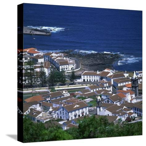 Houses and Coastline in the Town of Santa Cruz on the Island of Graciosa in the Azores, Portugal-David Lomax-Stretched Canvas Print
