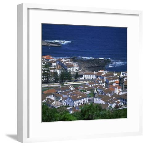 Houses and Coastline in the Town of Santa Cruz on the Island of Graciosa in the Azores, Portugal-David Lomax-Framed Art Print