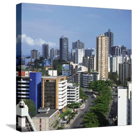 High Rise Buildings on the City Skyline of Salvador in Bahia State in Brazil, South America-Geoff Renner-Stretched Canvas Print