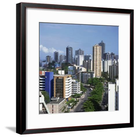 High Rise Buildings on the City Skyline of Salvador in Bahia State in Brazil, South America-Geoff Renner-Framed Art Print