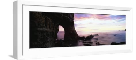 Dawn View over North Sea from Beach at Marsden Bay, South Shields, Tyne and Wear, England, UK-Lee Frost-Framed Art Print