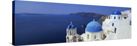 Oia with Blue-Domed Churches and Whitewashed Buildings, Santorini, Cyclades, Greek Islands, Greece-Lee Frost-Stretched Canvas Print