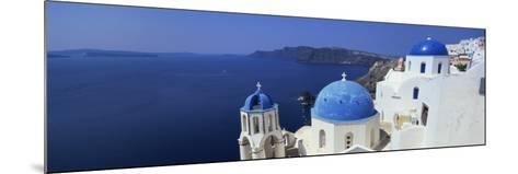 Oia with Blue-Domed Churches and Whitewashed Buildings, Santorini, Cyclades, Greek Islands, Greece-Lee Frost-Mounted Photographic Print