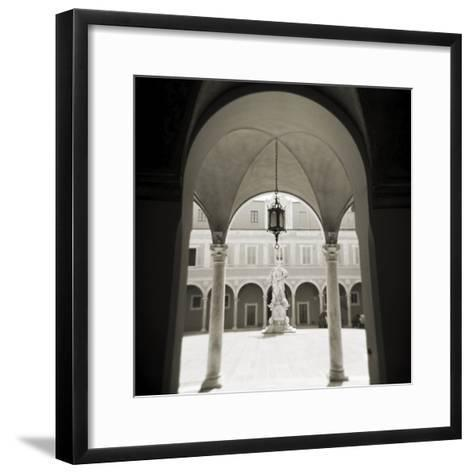 View Through Archways into Sunlit Courtyard, Pisa, Tuscany, Italy-Lee Frost-Framed Art Print