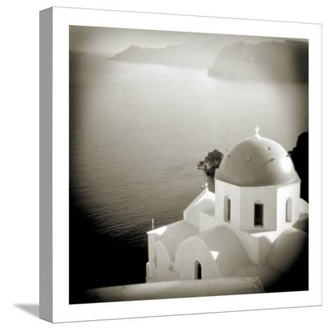 Polaroid of Domed Church, Oia, Santorini, Cyclades, Greek Islands, Greece, Europe-Lee Frost-Stretched Canvas Print