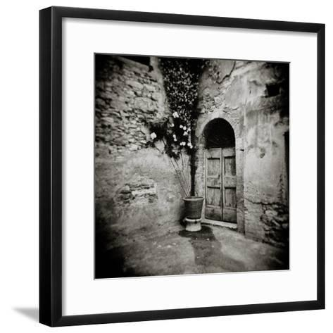 Corner of Quiet Square in Village of Lucignano D'Asso, Tuscany, Italy-Lee Frost-Framed Art Print