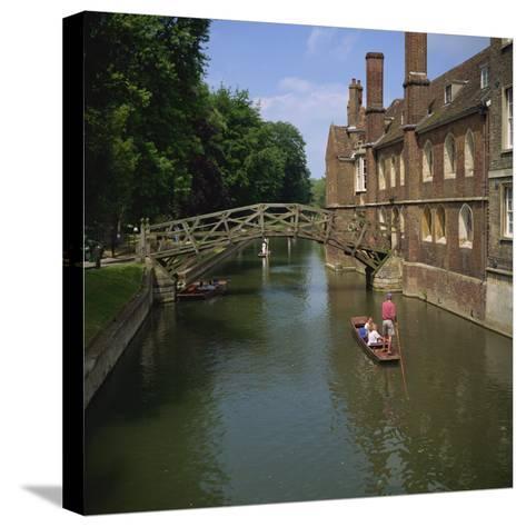 Queens College and Mathematical Bridge, Cambridge, Cambridgeshire, England, United Kingdom, Europe-Roy Rainford-Stretched Canvas Print