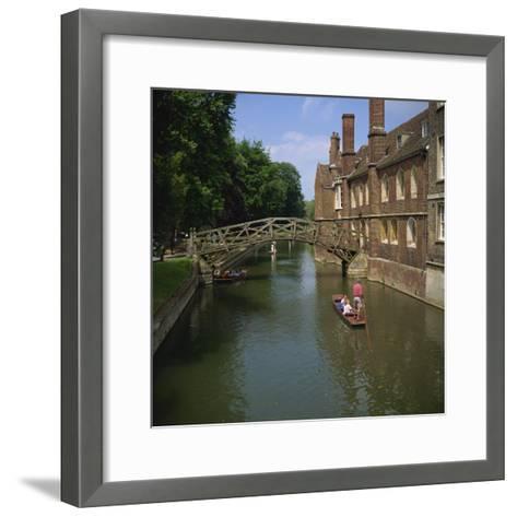 Queens College and Mathematical Bridge, Cambridge, Cambridgeshire, England, United Kingdom, Europe-Roy Rainford-Framed Art Print