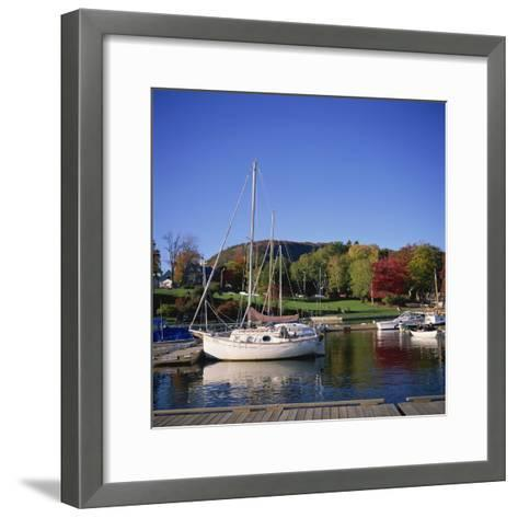 Camden Harbour with Fall Colours and Mount Battie in the Background, Maine, New England, USA-Roy Rainford-Framed Art Print