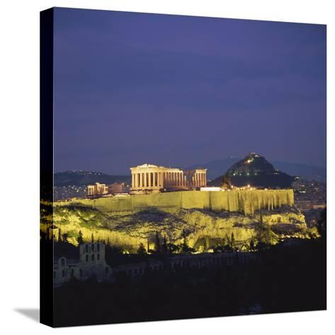 Parthenon and the Acropolis at Night, UNESCO World Heritage Site, Athens, Greece, Europe-Roy Rainford-Stretched Canvas Print