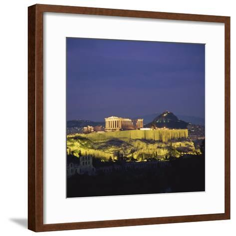 Parthenon and the Acropolis at Night, UNESCO World Heritage Site, Athens, Greece, Europe-Roy Rainford-Framed Art Print