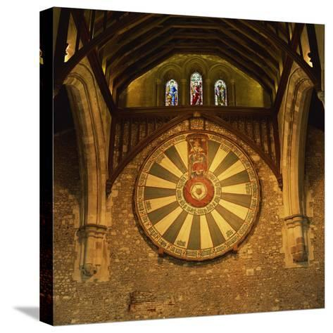 King Arthur's Round Table Mounted on Wall of Castle Hall, Winchester, England, United Kingdom-Roy Rainford-Stretched Canvas Print