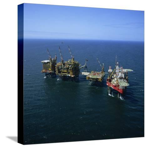 Seafox Drill Rig and Platform in the Sea at Morecambe Bay Gas Field, England, United Kingdom-Nick Wood-Stretched Canvas Print