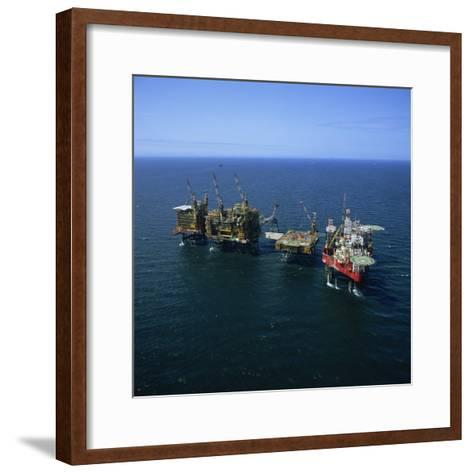 Seafox Drill Rig and Platform in the Sea at Morecambe Bay Gas Field, England, United Kingdom-Nick Wood-Framed Art Print