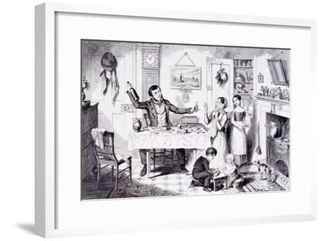 The Bottle Is Brought Out for the First Time, London, England, 1847-George Cruikshank-Framed Art Print