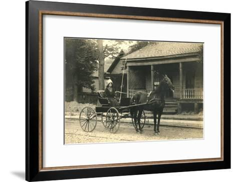 Woman in Horse-Drawn Buggy--Framed Art Print