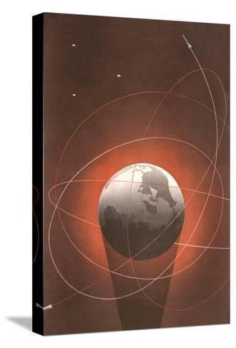 Rocket Paths Around Globe--Stretched Canvas Print
