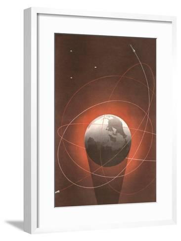 Rocket Paths Around Globe--Framed Art Print