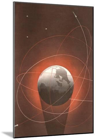 Rocket Paths Around Globe--Mounted Art Print