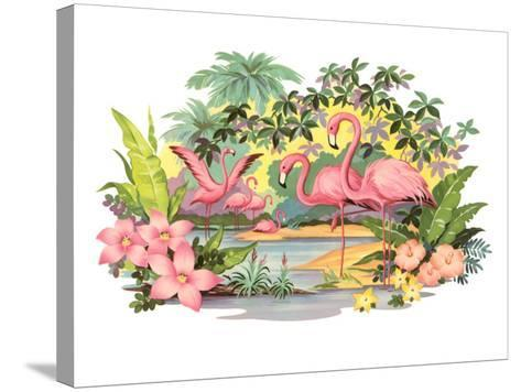 Flamingos in the Tropics--Stretched Canvas Print