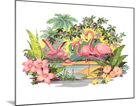 Flamingos in the Tropics--Mounted Art Print