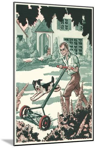Industrious Boy Mowing Lawn--Mounted Art Print