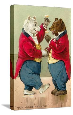 Well Dressed Bears Toasting--Stretched Canvas Print