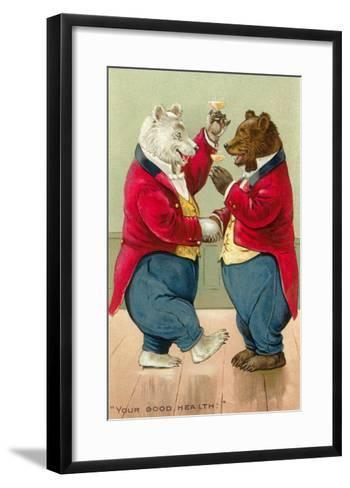 Well Dressed Bears Toasting--Framed Art Print