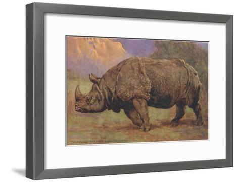 Charging Indian Rhinoceros--Framed Art Print