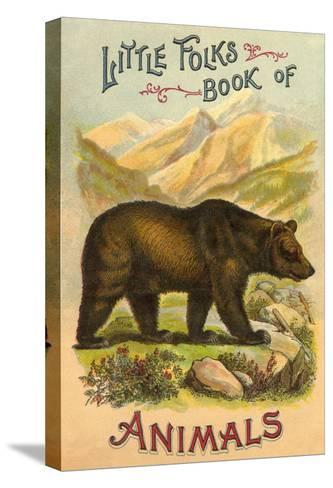 Bear on Book Cover--Stretched Canvas Print
