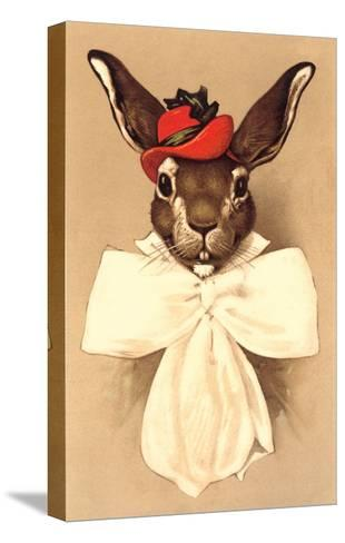Rabbit in Bow and Hat--Stretched Canvas Print