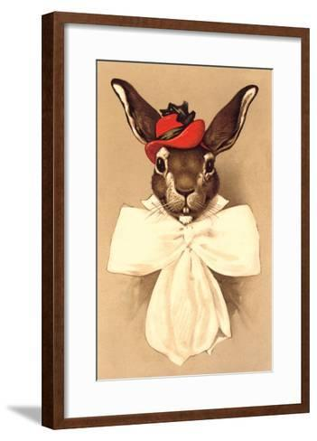 Rabbit in Bow and Hat--Framed Art Print