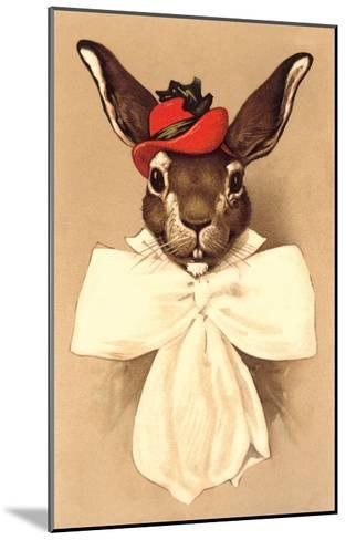 Rabbit in Bow and Hat--Mounted Art Print