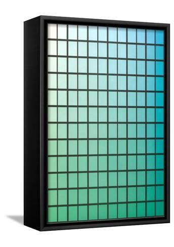 Squares with Gradated Green to Blue--Framed Canvas Print