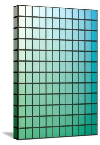 Squares with Gradated Green to Blue--Stretched Canvas Print