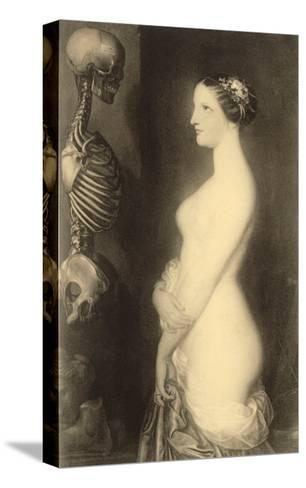 Woman Looking at Skeleton--Stretched Canvas Print
