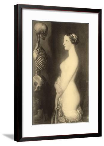 Woman Looking at Skeleton--Framed Art Print