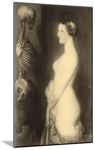 Woman Looking at Skeleton--Mounted Art Print