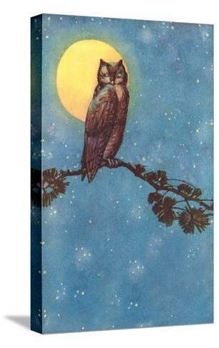 Owl with Full Moon--Stretched Canvas Print