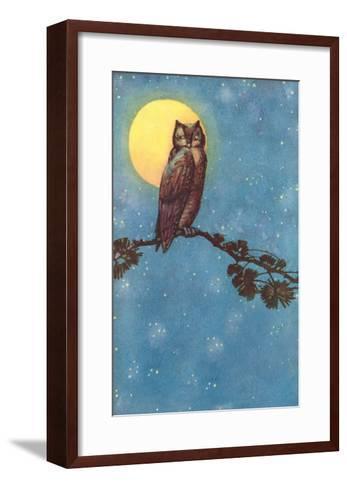 Owl with Full Moon--Framed Art Print